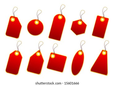 Red promo tags over white background