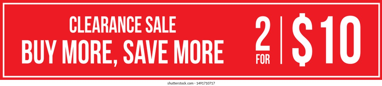 Red Promotional Banner. Vector Store Poster Buy More Save More. Two for Ten