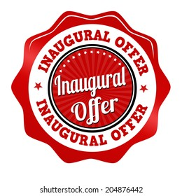 Red Promotional Sticker Iconstamp Or Label For Inaugural Offer On White Vector