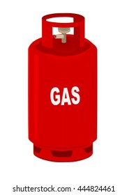 Red propane gas cylinder.