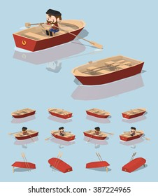 Red punt boat. 3D lowpoly isometric vector illustration. The set of objects isolated against the light-blue background and shown from different sides