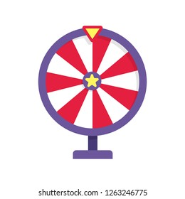 Red and purple fortune wheel illustration. Game, gambling, luck. Casino concept. Vector illustration can be used for topics like casino, circus, entertainment