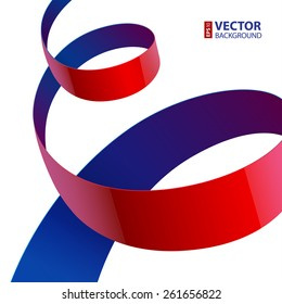 Red and purple shiny textured fabric curved ribbon on white background. RGB EPS 10 vector illustration