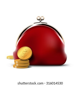 Red Purse with Gold Coins. Personal finance activity