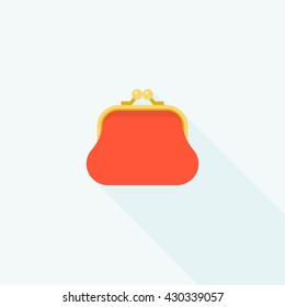 red purse icon with long shadow, flat design