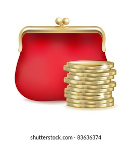 Red Purse And Money, Isolated On White Background, Vector Illustration