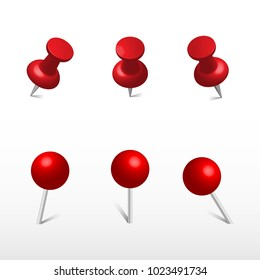 Red push office pin and round push pins. 3d push pin. Set vector realistic office attach button.