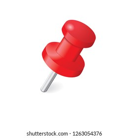 Red push pin isolated on a white background