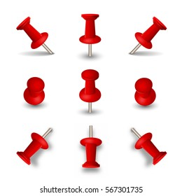 Red push pins isolated on white background. Set of office thumbtacks or pushpins with shadows for paper memo. Vector illustration