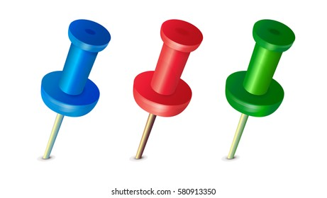 Red pushpin, blue pushpin, green pushpin, place pointer, office equipment