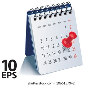 Red pushpin on calendar page for remind and marked important events. Realistic vector 3d illustration