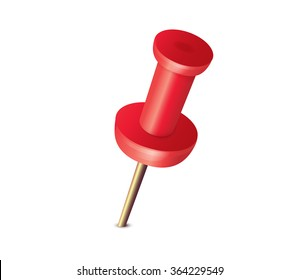 Red pushpin, place pointer, office equipment