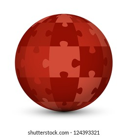 red puzzle globe. puzzle concept.