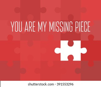 red puzzle picture with missing piece