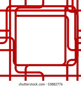 Red pvc pipes form a plumbing frame