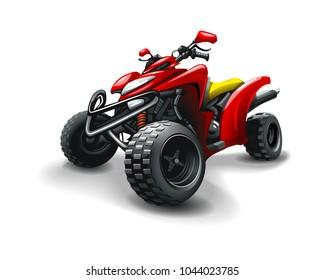 Red quad bike, on white background.