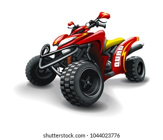 Red quad bike, with strips on white background.