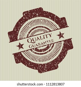 Red Quality Guarantee distress rubber stamp