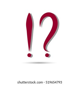 Red question and exclamation marks with shadow on a white background. Vector