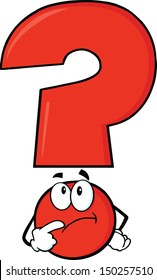 Red Question Mark Character Thinking