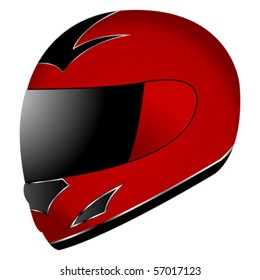 Red race helmet isolated over white background