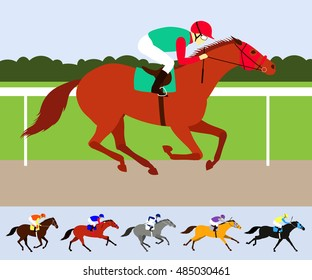 Red race horse with jockey on racecourse. Flat design vector illustration. 6 horses in different phases of the galop and different colors.