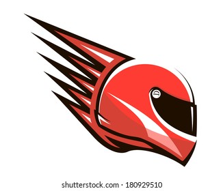 Red racing helmet logo with spikes projecting from the back giving the impression of speed, side view