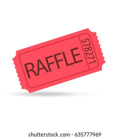 Red raffle ticket icon. Vector image isolated on white background