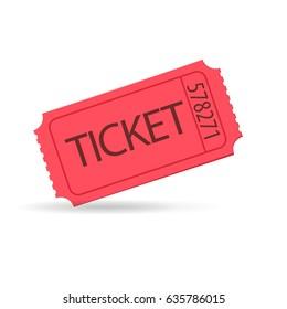 red raffle ticket. Vector illustration
