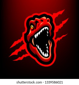 Red Raptor Head for esport and sport mascot logo isolated on dark Red Background