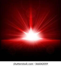 Red Rays rising from horizon