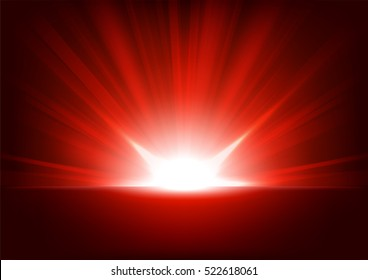 Red Rays rising on dark background