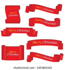 Red realistic detailed curved paper Merry Christmas banner isolated on white background. Vector illustration eps 10.