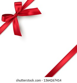 Red realistic gift bow with ribbon isolated on white background. Vector holiday design element for banner, greeting card or poster