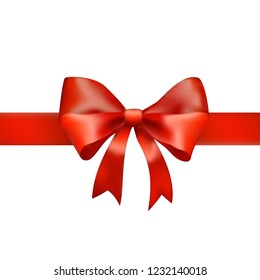 Red realistic satin ribbon on white background.Realistic red vector bow