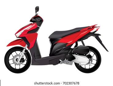 red realistic scooter motorcycle isolate on white background vector illustrations