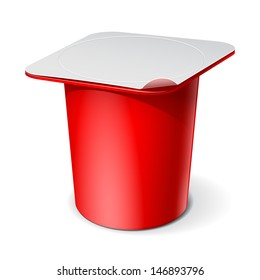 Red Realistic White blank plastic container for yogurt, jams and other products. Vector illustration