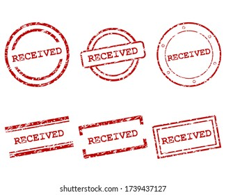 Red received stamps on white