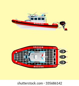 Red rescue boat on the water. Left side. Top view. Isolated objects. Coast security. Vector illustration