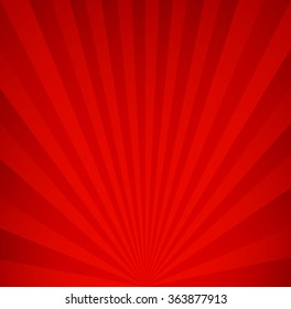 Red retro background. Vintage rays pattern.