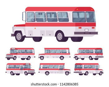Red retro bus. Single-decker bright large motor road vehicle for carrying passengers, city transit. Vector flat style cartoon illustration, isolated on white background, different positions and view