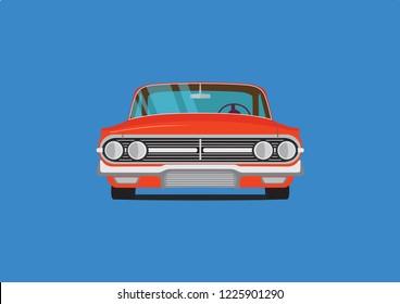 red retro car. Chevrolet Impala 1960.