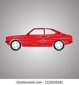Red retro car. Fast hatchback. Vector EPS 10