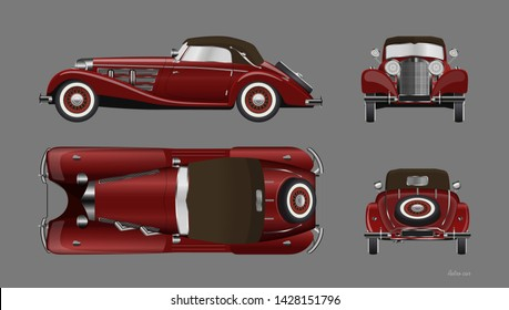 Red retro car on gray background. Vintage cabriolet in realistic style. Front, side, top and back view. Industrial isolated blueprint. 3d automobile. Vector illustration