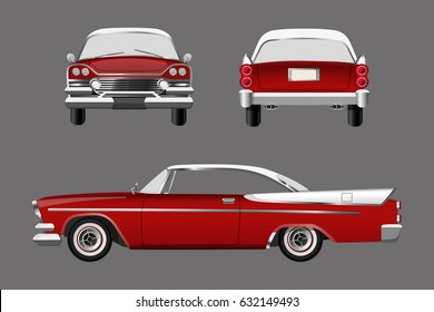 Red retro car on gray background. Vintage cabriolet in a realistic style. Front, side and back view. Vector illustration