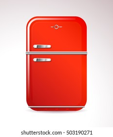 Red retro design household refrigerator and freezer combination appliance on a gradient grey background, vector illustration