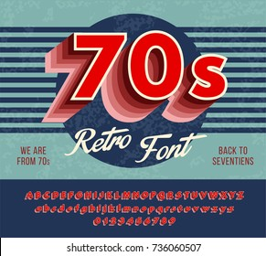 Red retro font from 70's, 80's, alphabet with a harsh color gradation effects. vector illustration