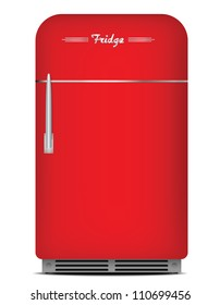 Red retro fridge. Vector illustration.