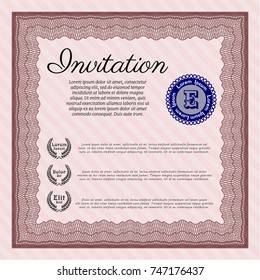 Red Retro invitation. Good design. With linear background. Vector illustration.