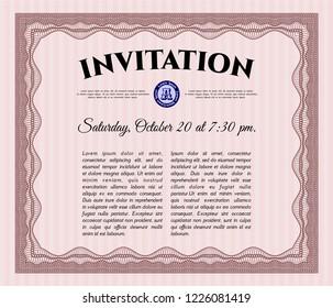 Red Retro invitation template. With quality background. Superior design. Vector illustration.